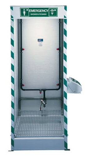 multi nozzle cubicle decontamination shower with integral